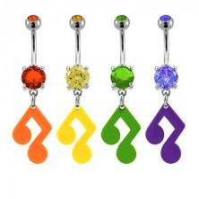 Piercing do pupku - hudobná nota so zirkónom v rôznych farbách