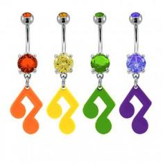 Šperky eshop - Piercing do pupku - hudobná nota so zirkónom v rôznych farbách E11.7 - Farba zirkónu: Fialová - A