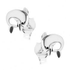 Šperky eshop - Strieborné 925 náušnice s puzetovým zapínaním, delfín, patinovaný povrch PC09.32