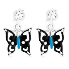 Šperky eshop - Náušnice s čierno-modro-bielym motýľom, striebro 925, krištáľ PC14.32