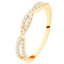 Prsteň v žltom 14K zlate - prepletené zirkónové vlnky, drobné číre zirkóniky