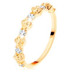 Prsteň zo žltého 14K zlata - striedajúce sa ružičky a okrúhle číre zirkóny