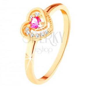 Zlatý prsteň 585 - ružové zirkónové srdiečko v dvojitom obryse