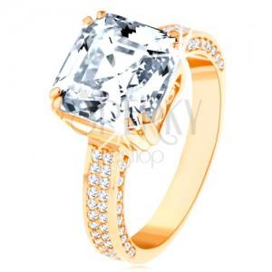 Luxusný zlatý prsteň 585 - veľký brúsený zirkón v ozdobnom kotlíku, zirkónové línie