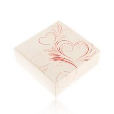 Darčeková krabička na set alebo náhrdelník, smotanová farba, červené ornamenty