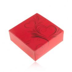 Červená darčeková krabička na set alebo náhrdelník, čierna srdiečková potlač