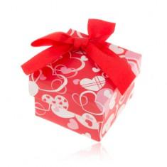 Šperky eshop - Červeno-biela krabička na prsteň, náušnice alebo prívesok, srdiečka, mašľa Y41.14