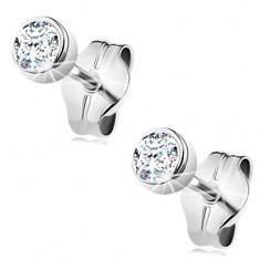7302f1731 Šperky eshop - Zlaté náušnice 585 - okrúhly číry zirkón v objímke, biele  zlato,