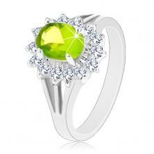 Ligotavý prsteň s rozdelenými ramenami, zirkónový ovál v zelenej farbe