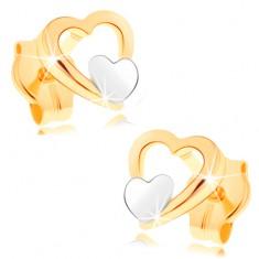 513a81f4c Šperky eshop - Náušnice zo 14K zlata - lesklý obrys srdca, malé ploché  srdiečko v