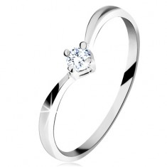 Zlatý prsteň 585 - lesklé zahnuté ramená, ligotavý brúsený diamant čírej farby