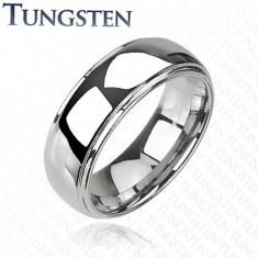 Wolfrámový prsteň s vyvýšeným stredom, zrkadlový lesk, 8 mm