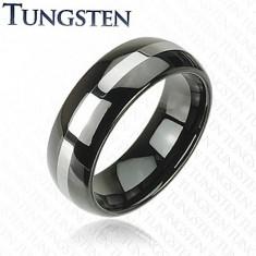 Čierna obrúčka z tungstenu, pás striebornej farby, zaoblený povrch, 8 mm
