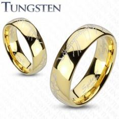 Obrúčka z tungstenu, zaoblený povrch v zlatej farbe, motív Pána prsteňov, 6 mm