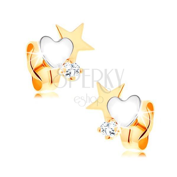 97f39734f Dvojfarebné zlaté náušnice 585 - hviezda a srdce, okrúhly číry zirkónik ...