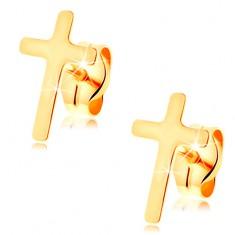 Náušnice v žltom 14K zlate - malý latinský krížik, vysoký lesk, puzetky