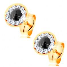 Šperky eshop - Náušnice zo žltého 14K zlata - okrúhly zafír, číre krištáliky Swarovski GG145.12