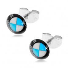 Okrúhle oceľové náušnice - čierno-bielo-modré logo automobilky, puzetky