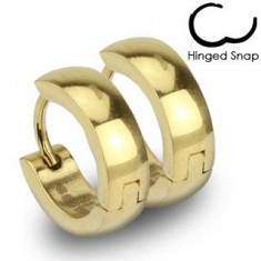 Šperky eshop - Okrúhle náušnice z ocele 316L, zlatá farba, hladký zrkadlovolesklý povrch V15.09