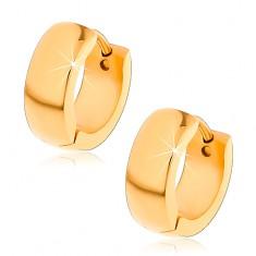 Šperky eshop - Lesklé náušnice z chirurgickej ocele so zaobleným povrchom v zlatom odtieni V15.12
