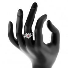 Trblietavý prsteň s rozdelenými ramenami, číry zirkónový kvietok, farebný stred