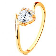 8221e8329 Šperky eshop - Prsteň zo žltého 14K zlata - číre zirkónové srdiečko, zahnuté  konce ramien GG128.10 128.30 35 - Veľkosť: 49 mm