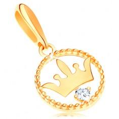 6206b8b54 Šperky eshop - Zlatý prívesok 585 - lesklá korunka vo vrúbkovanej obruči, číry  zirkón GG119.02