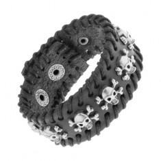 Šperky eshop - Čierny kožený náramok s čiernou prepletenou šnúrkou, lebky Y33.04