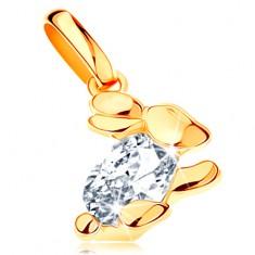 Zlatý prívesok 585 - ligotavý zajačik s čírym zirkónovým telom