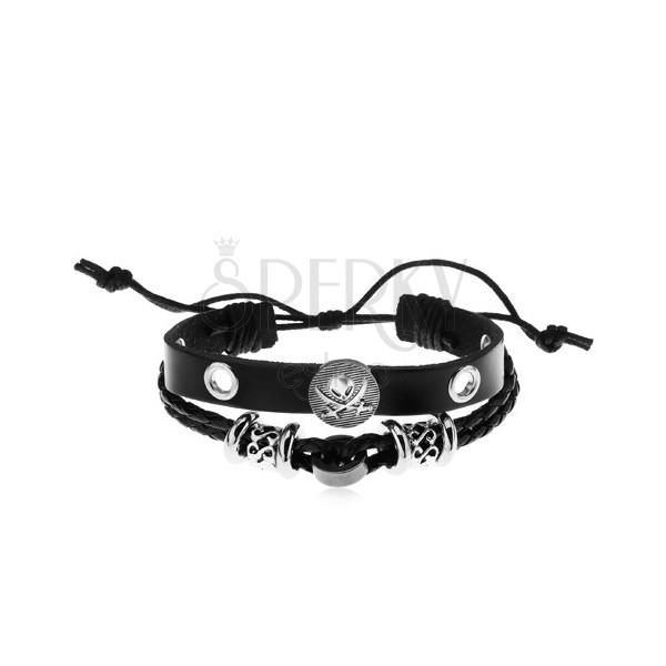 290d1470b Náramok z umelej kože čiernej farby, oceľové korálky, kruh s lebkou a mečmi