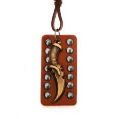 Šperky eshop - Nastaviteľný kožený náhrdelník - patinovaná dýka, vybíjaný pás kože Y35.20