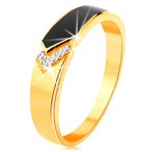 Prsteň zo žltého 14K zlata - čierny glazúrovaný pás so špicom, číre zirkóniky