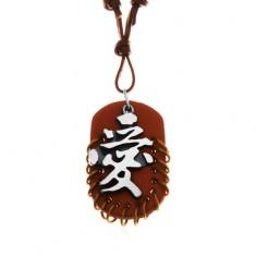 Šperky eshop - Kožený náhrdelník, prívesky - hnedý ovál s krúžkami a sivo-čierny čínsky znak Y36.11