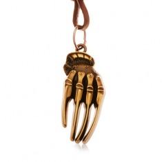 Šperky eshop - Hnedý náhrdelník z umelej kože, patinovaná ruka kostry mosadznej farby Y36.14