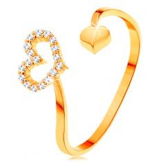 Zlatý prsteň 585 - zvlnené ramená ukončené obrysom srdca a plným srdiečkom