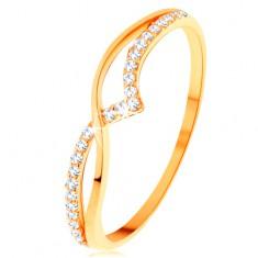 Prsteň zo žltého 14K zlata - hladká a trblietavá vlnka z čírych zirkónikov