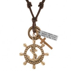 Šperky eshop - Kožený náhrdelník hnedej farby, prívesky - kormidlo s kotvou, kríž, známka Y37.13