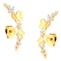 Šperky eshop - Náušnice zo žltého 14K zlata - číra zirkónová vetvička, lesklé motýle GG115.06
