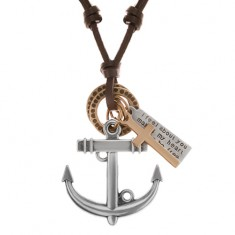 Kožený náhrdelník hnedej farby, prívesky - kotva, kríž, známka a obruče