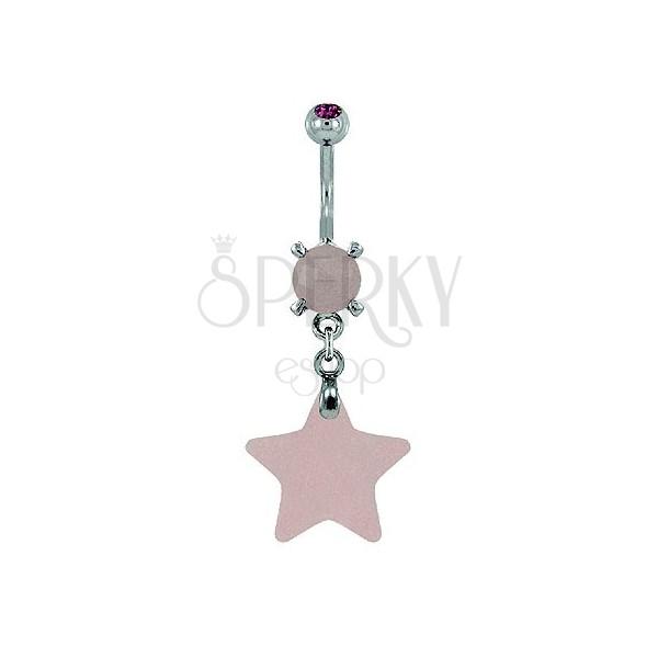 Piercing do pupku - hviezda prírodný kameň svetloružová