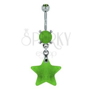 Piercing do pupku - hviezda prírodný kameň svetlozelená