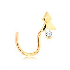 Šperky eshop - Zahnutý zlatý piercing do nosa 585 - lesklý stromček s čírym zirkónom GG140.12