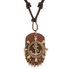 Nastaviteľný kožený náhrdelník - kormidlo s kotvou, známka z kože