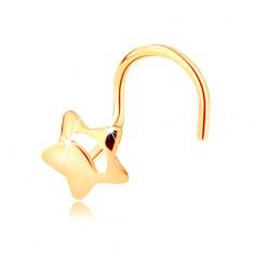 Šperky eshop - Piercing do nosa zo žltého 14K zlata - päťcípa hviezdička s výrezom GG143.08