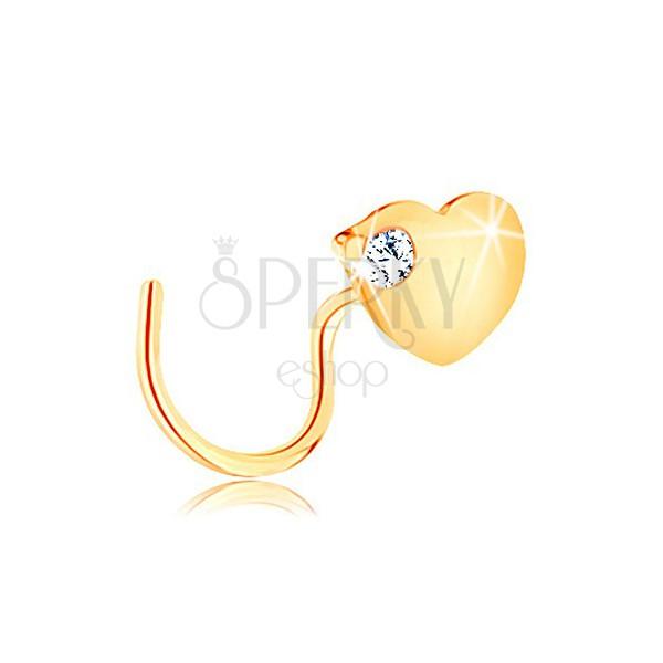 Zahnutý piercing do nosa v žltom 14K zlate - ploché srdce so zirkónom