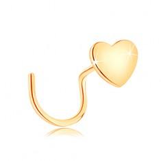 Piercing do nosa v žltom 14K zlate, zahnutý - malé ploché srdiečko