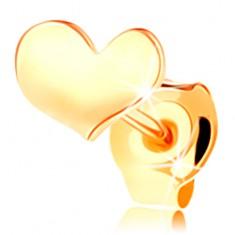 Šperky eshop - Puzetová jednokusová náušnica v žltom 14K zlate - jemne prehnuté srdiečko GG117.10