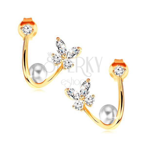 322c3df4b Náušnice v žltom 14K zlate - lesklá zahnutá línia, motýľ, perla a zirkón ...