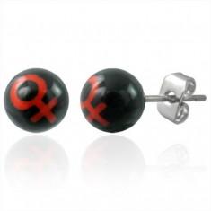 Šperky eshop - Malé náušnice z ocele guličky - symbol MUŽ G14.20