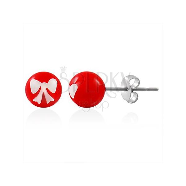 Oceľové náušnice, červená gulička s bielou mašličkou, puzetové zapínanie